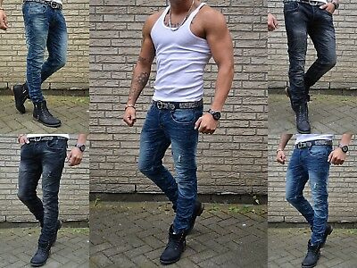 Young Fashion Skinny Herren destroyed Rocker Biker Mode STYLE Jeans Röhre Hose