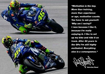 Valentino Rossi poster Quotes # 9 - Signed (copy) - motorcycle road racer - A4