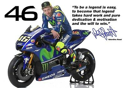 Valentino Rossi poster Quotes # 14 - Signed (copy) - motorcycle road racer - A4