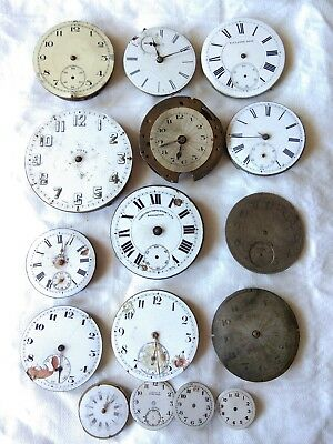 Collection of 16 Antique POCKET WATCH  clock  Parts & Dials  STEAMPUNK
