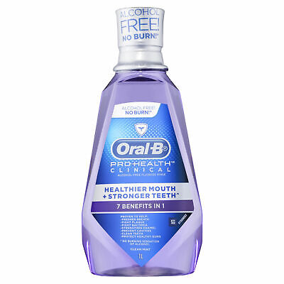 Oral B Pro Health Clinical Clear Mint Mouth Wash 1 Litre Protect Teeth Gums
