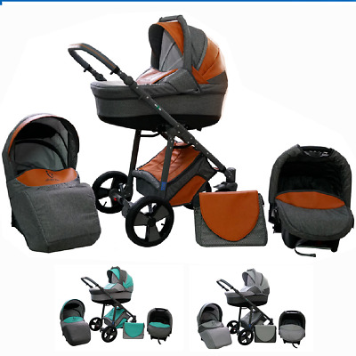 Baby Pram Stroller Complete Travel System 3in1 Pushchair Buggy Carrycot Car seat