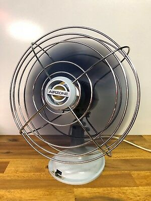Vintage Airzone Blue Oscillating 3 Speed Electric Metal Base Table Fan