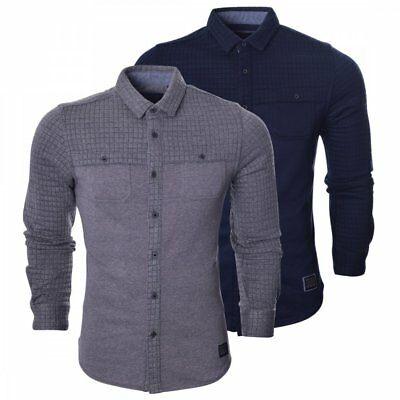 b6e33479d28 Brave Soul Mens Long Sleeved Shirt - Slim Fit Quilted Fitted Smart Casual  Shirts