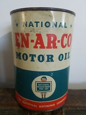 Vintage National EN-AR-CO Metal One Quart Oil Can The National Refining Company