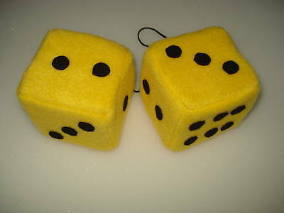 New Fuzzy Yellow and Black Dots Car Dice--3 Inch