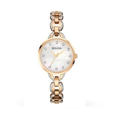 Bulova Women's 98L207 Crystal Mother Of Pearl Dial Rose Gold Tone Watch
