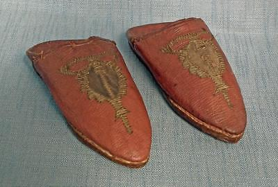 Antique 19th century Turkish Ottoman Islamic Embroidered Leather Shoes Mules