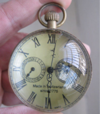2.4In Old antique brass clock round spherical glass mechanical pocket watch