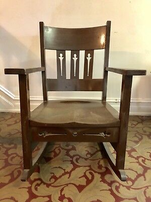Arts and Crafts Mission Oak Rocker Chair c.1900 unknown maker / stickley style