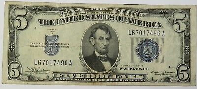 1934-B $5 FR 1652 Silver Certificate Five Dollar Note Currency 18537F