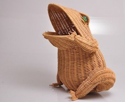 "Vintage Large Wicker Rattan 16"" FROG TOAD Basket w Marble Eyes From 1960's"