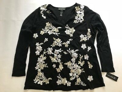 ed9d22012b98f3 INC WOMAN Plus 0X White Embroidered Winter Mariner Black Blouse $80 NWT