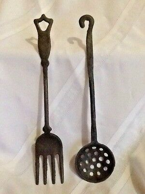 "Vintage Wrought Iron TAIWAN FORK & SLOTTED SPOON~11""~Hang,Display~Estate Find"
