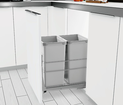 Pull Out Kitchen Cabinet Trash Can 2-Bin Waste Garbage Container Soft Close 60Qt