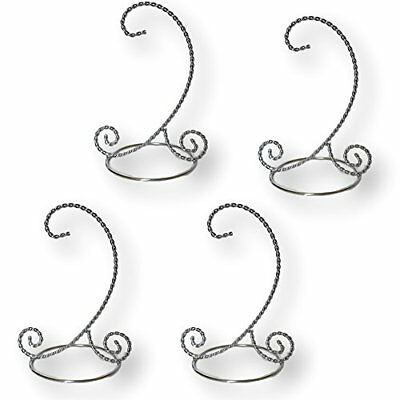 "Twisted SILVER Christmas Ornament Stand Set Of 4 Display Stands 6"" Holders Chrom"