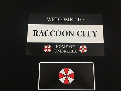 Resident Evil Raccoon City Road Sign and Umbrella Corp License Plate 2 Pack