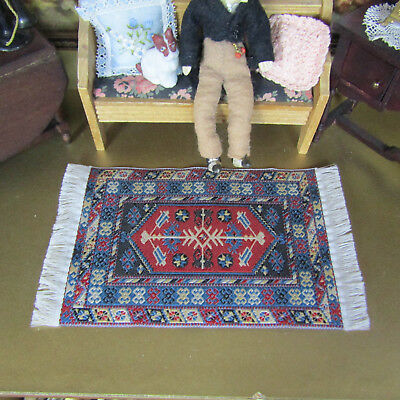 Dollhouse Rug Blue Red Persian Woven Fringe Living Dining Room Miniature Carpet