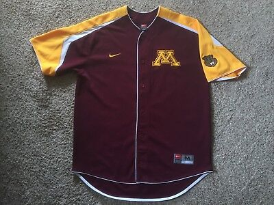 separation shoes ae957 19b34 MINNESOTA GOLDEN GOPHERS NCAA Nike Button Stitched Baseball Jersey Mens Sz M