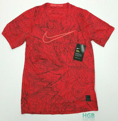 Nike Pro Cool Printed Fitted Shirt Boys Red Black Dri Fit Youth 903580 657 NWT