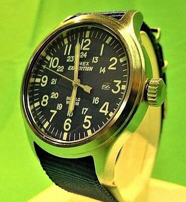 Brand New Timex Scout Expedition Military Watch-Night Glow/blue Face/blue Band