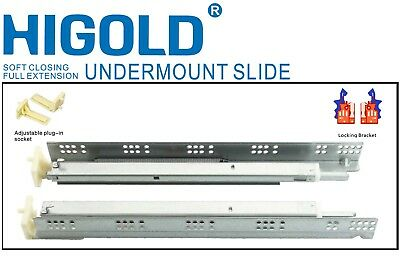 Full Extension Heavy Duty Drawer Runner Slides Under Mount Soft Close Slider