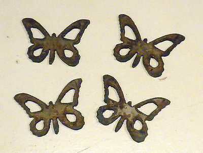 """Lot of 4 Butterfly Shapes 2"""" Rusty Metal Vintage Stencil Ornament Craft Stencil"""