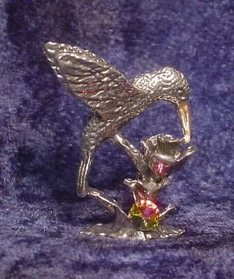 Pewter Hummingbird with Colorful Crystal Accent
