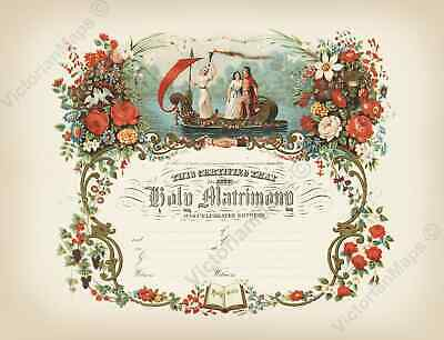 antique Victorian c.1870 MARRIAGE CERTIFICATE matrimony art poster wedding gift