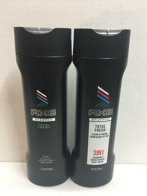 Lot of 2 Axe 3-in-1 Shampoo + Conditioner + Body Wash Total Fresh 12 Ounce