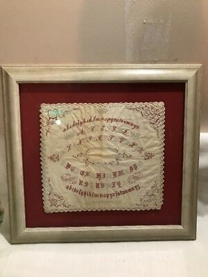 ANTIQUE INSTRUCTION ALPHABET & CROWNS SAMPLER CURSIVE 1850s FRAMED