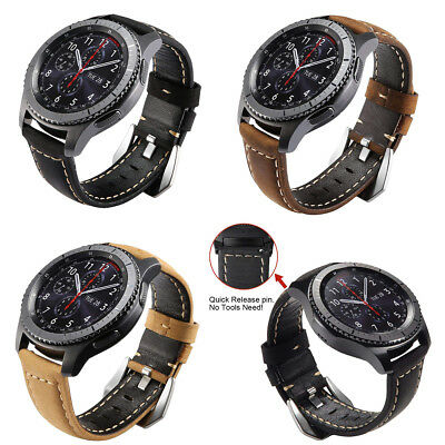 Leather Retro Watch Band Quick Release For Samsung Gear S3 Frontier/Classic US