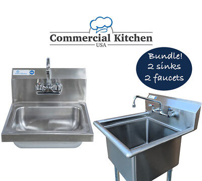 2 Commercial Sinks 2 Commercial Faucets Mounting Kit NSF Certified