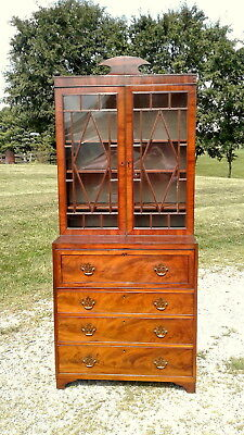 Butler's Desk with Book Case Top Two Piece Mahogany Veneer Thomaston GA C 1840