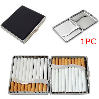 NEW Black Pocket Leather Metal Tobacco 20 Cigarette Smoke Holder Storage Case