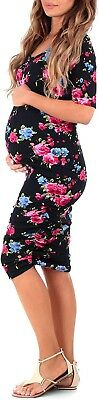 Mother Bee Maternity Bodycon Dress Navy Blue Floral Size Large