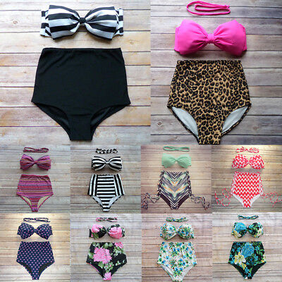 Women Sexy Bowknot Swimsuit High Waist Padded Bra Two Piece Printing Swimwear