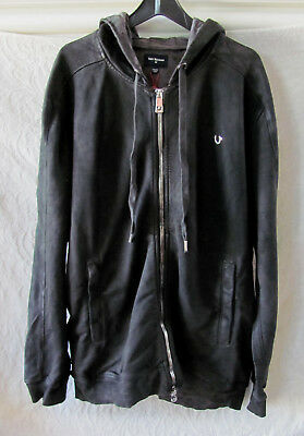a935e6e15 True Religion Coated Moto Zip Up Hoodie Jacket -Charcoal -Size 2XL 3XL-