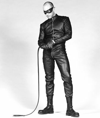Mens real Leather Catsuit Two way Zip Black Leder Lined Fitted Fetish Roleplay