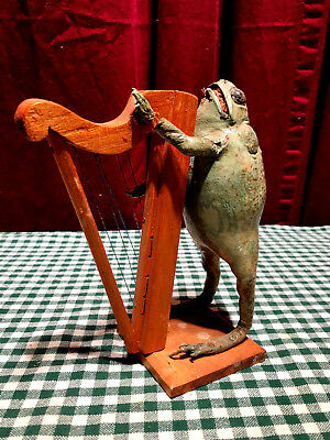 Vintage Taxidermy Frog playing a Harp, part of a larger band collect all four