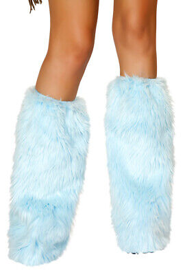 Roma baby blue rave furry leg warmers