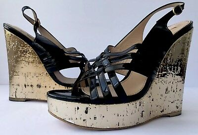 289f9c49574 YSL Yves Saint Laurent Black Patent Leather Strappy Gold Cork Wedge Sandals  40