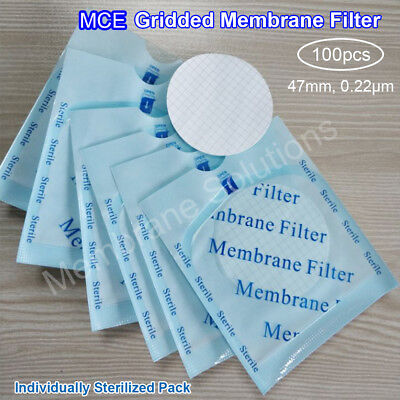 MS® MCE White Gridded Membrane Filters (Sterile) 47mm,0.22um,Hydrophilic,100/Pk