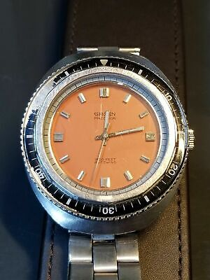 Serviced Vintage Gruen 70 's Diving 1500 ft Diver Orange Dial Submariner Watch