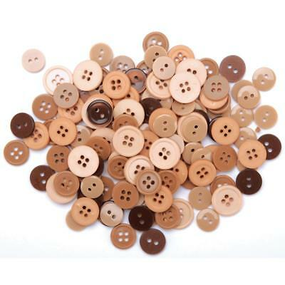 130pcs Assorted Bulk Brown/Tan Theme Round Buttons Lot Craft Sewing Scrapbook