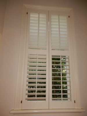 SHUTTERS – CENTRE OPENING TIMBER PLANTATION SHUTTERS 695w x 1520h, removed, 7h