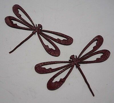 Dragonfly - Laser Cut Shapes 2 Pc - Dark Red Lambskin Leather