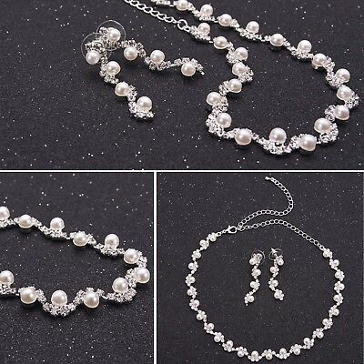 Noble Wedding Party Bridal Jewelry Diamante Crystal Pearl Necklace Earrings Sets