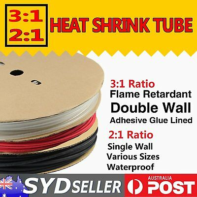 Heat Shrink 3:1 Glue Lined & 2:1 Tube Wire Cable Sleeve Wrap Multiple Color&Size