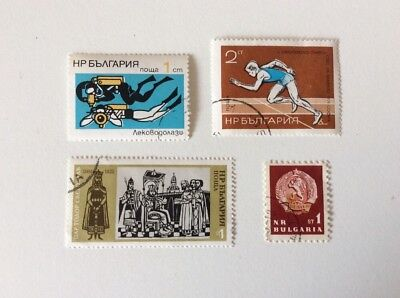 Collection Of 4 Bulgarian Stamps. Colour Shift Error On Diving Stamp.